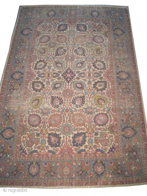 "Tabriz Petak Persian circa 1925 semi antique, Size: 340 x 224 (cm) 11' 2"" x 7' 4""   carpet ID: P-6237 The black color is oxidized, the knots are hand spun wool,  ..."