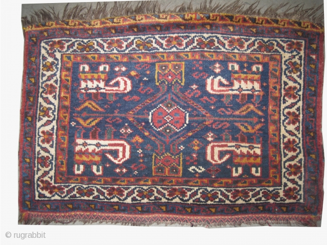 """Luri, south Persian, circa 1910 antique. Collector's item. Size: 61 x 41 (cm) 2'  x 1' 4""""   carpet ID: SA-1124 High pile, perfect condition, the black color is oxidized, the warp  ..."""