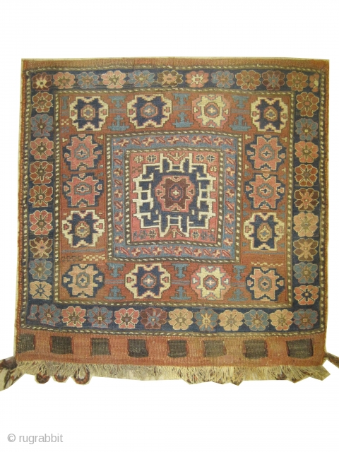 "Soumak bag Caucasian circa 1880 antique. Collector's item, Size: 67 x 66 (cm) 2' 2"" x 2' 2""  carpet ID: A-953 Perfect condition, woven with hand spun wool Soumak technique, Lezgi star  ..."