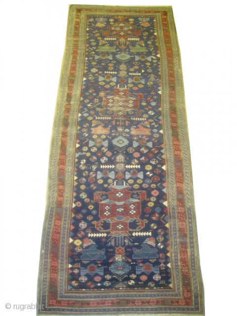"Sejshour Kouba Caucasian circa 1870 antique. Collector's item. Size: 330 x 123 (cm) 10' 10"" x 4'   carpet ID: K-3461 Very fine knotted, rare example, the background color is indigo, certain  ..."