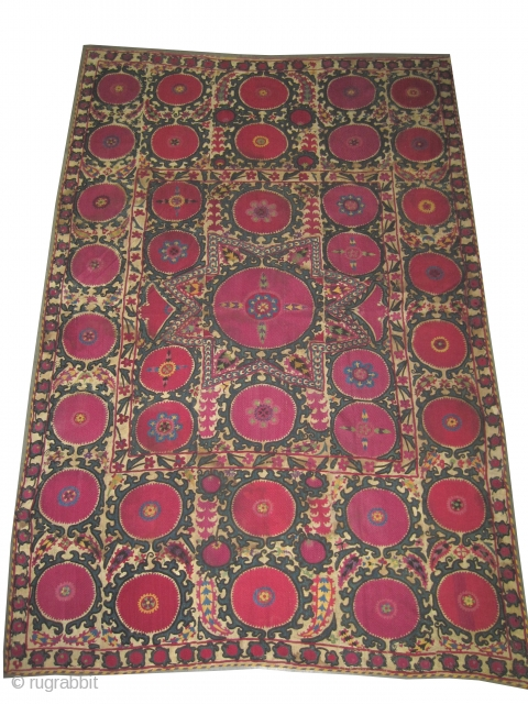 """Suzani Uzbek circa 1890 antique. Size: 287 x 187 (cm) 9' 5"""" x 6' 2""""  carpet ID: A-1002 Silk embroidery on hand woven linen and the design is made with needle work,  ..."""