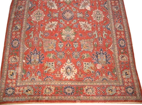 """Malaier Persian circa 1920 semi antique, Size: 305 x 218 (cm) 10'  x 7' 2""""  carpet ID: P-4013 The two edges are finished with 3cm kilim, all over big floral design,  ..."""