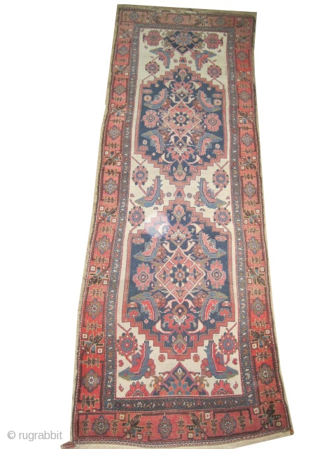 "Farahan Persian circa 1905 antique. Size: 324 x 103 (cm) 10' 7"" x 3' 5""  carpet ID: K-3712