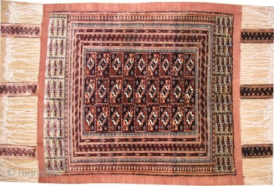 "Baby's cradle Tekke Turkmen 100% silk, old, collector's item. Size: 88 x 79 (cm) 2' 11"" x 2' 7""  carpet ID: K-1103
