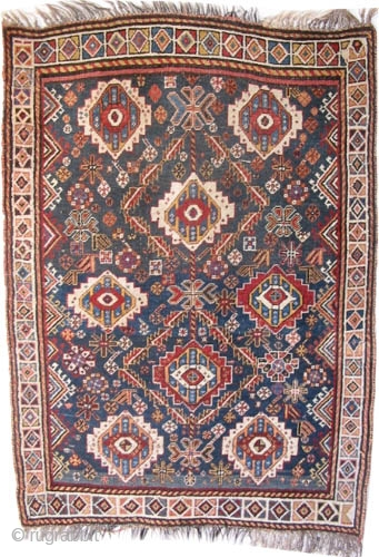 "Qashqai Persian circa 1900 antique. Collector's item, Size: 138 x 100 (cm) 4' 6"" x 3' 3""  carpet ID: K-652