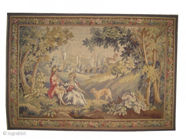 """French tapestry circa 1890 antique, collector's item, Size: 180 x 120 (cm) 5' 11"""" x 3' 11""""  carpet ID: MZ-1  Hand woven with hand spun wool on a loom, perfect condition,  ..."""