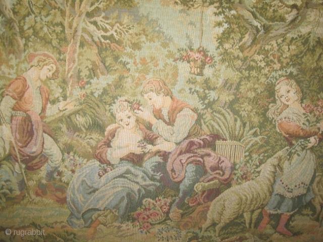 "European Tapestry, 1930 semi antique. Size: 133 x 120 (cm) 4' 4"" x 3' 11""  carpet ID: DB-1 European tapestry / wardrobe, the tapestry's size is 95 x 95 cm,   ..."
