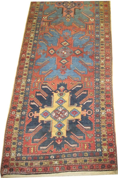 "Heriz Persian circa 1920, Size: 430 x 109 (cm) 14' 1"" x 3' 7""  carpet ID: K-4437