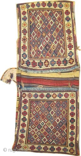 "Caucasian Moghan saddle bag, circa 1885 antique, collector's item. Size: 114 x 44 (cm) 3' 9"" x 1' 5""  carpet ID: A-604