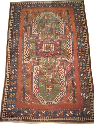 "Sevan kazak Caucasian circa 1885 antique. Collector's item, Size: 245 x 164 (cm) 8'  x 5' 5""  carpet ID: K-3188 High pile, good condition, the background color is brick, the center  ..."