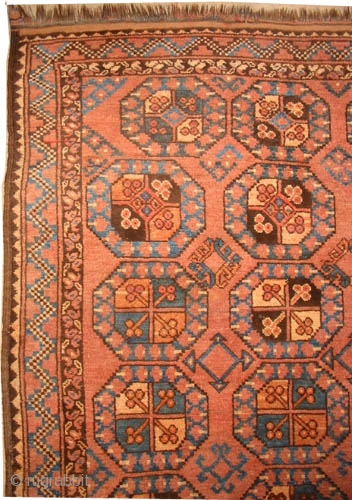 "Ersari Turkmen circa 1900 antique.  Size: 215 x 142 (cm) 7' 1"" x 4' 8"" 