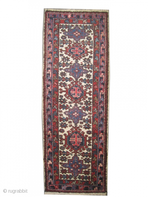 """Karadja Persian old. Size: 168 x 60 (cm) 5' 6"""" x 2'  Carpet ID: T-449 Seven medallions, thick pile, perfect condition."""