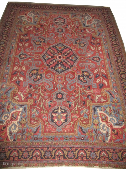 Serapi Heriz Persian, knotted circa in 1890 antique, collectors item, 325 x 240 cm, carpet ID: NO-986