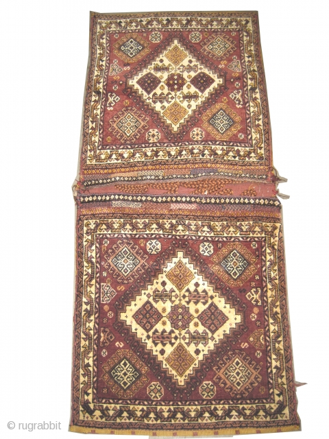 "Khurjin Qashqai Persian circa 1915 antique, collector's item, Size: 113 x 58 (cm) 3' 8"" x 1' 11""  carpet ID: K-474