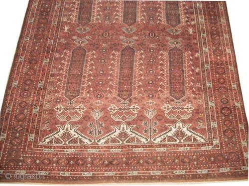 "Belutch Persian circa 1920 Semi antique, Size: 418 x 230 (cm) 13' 8"" x 7' 6""   carpet ID: P-369 Rare size, the two edges are finished with 4cm rust kelim, geometric design  ..."