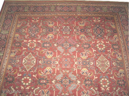 "Mahal Persian circa 1910 antique, Size: 440 x 326 (cm) 14' 5"" x 10' 8"" 