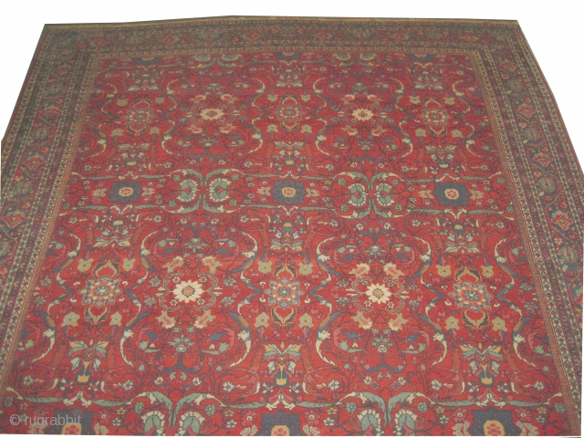"""Mahal Persian circa 1910 antique. Size: 560 x 350 (cm) 18' 4"""" x 11' 6""""  carpet ID: P-3767 High pile, good condition, all over design, the knots are hand spun lamb wool,  ..."""