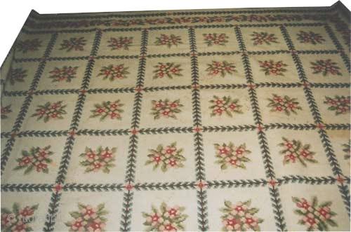 "European circa 1925 semi antique, Size: 430 x 330 (cm) 14' 1"" x 10' 10""  carpet ID: P-3646 Art Deco period. The knots are hand spun wool, high pile, minor used places  ..."