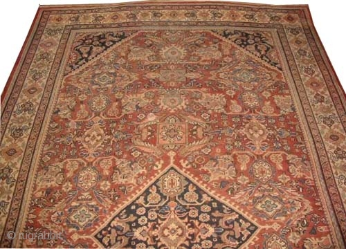 """Mahal Persian circa 1925 Semi-antique, Size: 550 x 320 (cm) 18'  x 10' 6""""  carpet ID: P-5051 The black color is oxidized, the background color is rust, the center medallion  ..."""