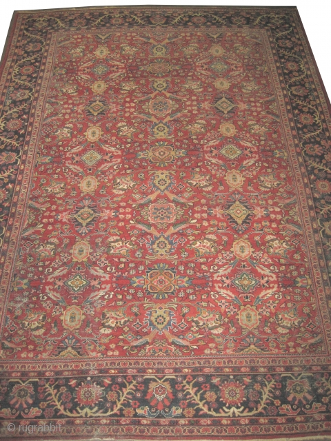 """Mahal Persian circa 1920 semi antique, Size: 436 x 308 (cm) 14' 4"""" x 10' 1""""  carpet ID: P-3919 Part of the pile is slightly short, good condition, all over design, fine  ..."""