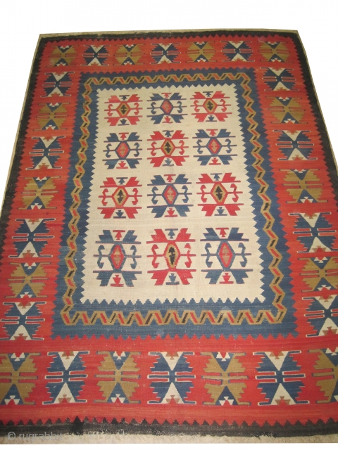 """Anatolian Karaman kilim, circa 1860 antique. Collector's item. Size: 322 x 230 (cm) 10' 7"""" x 7' 6""""  carpet ID: A-573 Woven with hand spun 100% wool, the background color is  ..."""
