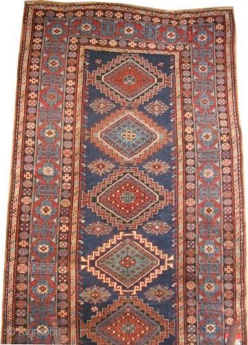 "Fachralo-Kazak Caucasian circa 1910 antique. Size: 324 x 140 (cm) 10' 7"" x 4' 7"" 