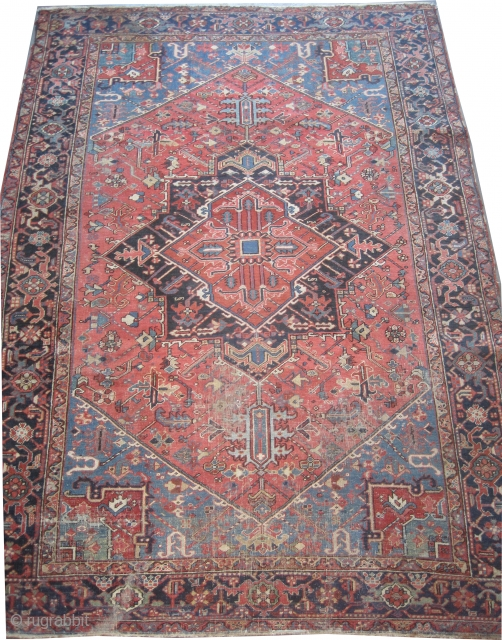 """Serapi Heriz Persian knotted circa 1905 antique, 315 x 228 (cm) 10' 4"""" x 7' 6""""  carpet ID: P-4609 The knots are hand spun lamb wool, the black knots are oxidized, the  ..."""