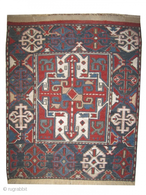 Soumak bag face Caucasian knotted circa 1870