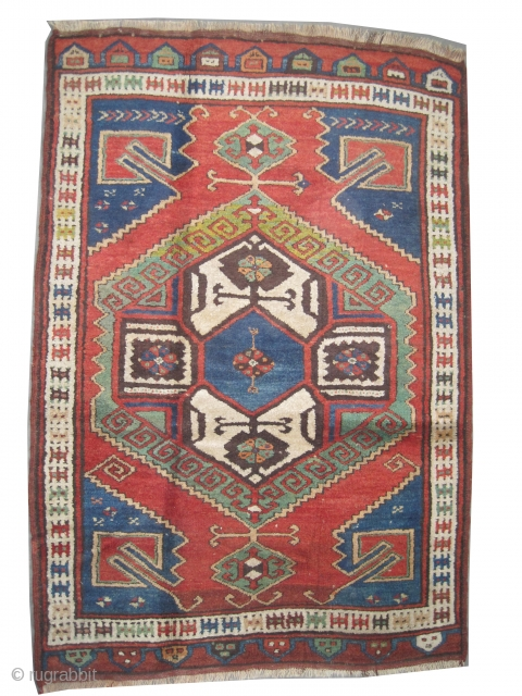 "Karapinar Turkish antique, 1905, Collector's item, the size is: 177 x 122 (cm) 5' 10"" x 4' feet, CarpetID: K-4625, vegetable dyes, the black color is oxidized, the knots are hand spun  ..."