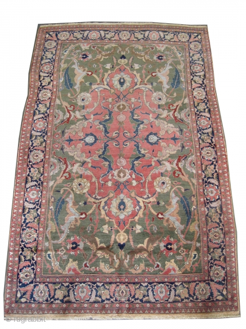 """Hajijelili Tabriz Persian knotted circa in 1905 antique. Size: 275 x 177 (cm) 9'  x 5' 10""""  carpet ID: P-5023  The background color is soft green, the center medallion is  ..."""