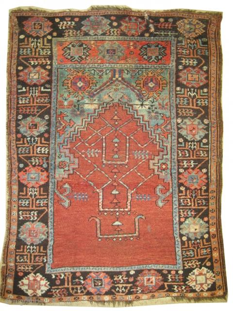 "Konya Ladik prayer Turkish rug, circa 1870, antique. Size: 129 x 98 (cm) 4' 3"" x 3' 3"" carpet ID: K-3148  Collector's item, high pile, acceptable condition, thick pile, the edges have  ..."