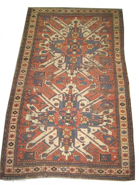 "Tchelaberd Kazak Caucasian circa 1885. Antique, collector's item,Size: 217 x 134 (cm) 7' 1"" x 4' 5"" feet, carpet ID: K-4230 vegetable dyes, the black color is oxidized, the warp and the weft  ..."