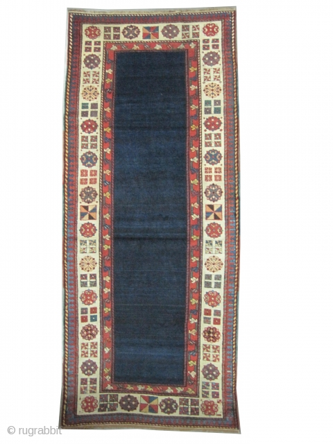 """Talish Caucasian circa 1870, antique, Size: 246 x 100 (cm) 8' 1"""" x 3' 3"""" , carpet ID: K-4411  vegetable dyes, the black color is oxidized, the warp threads are cotton the  ..."""