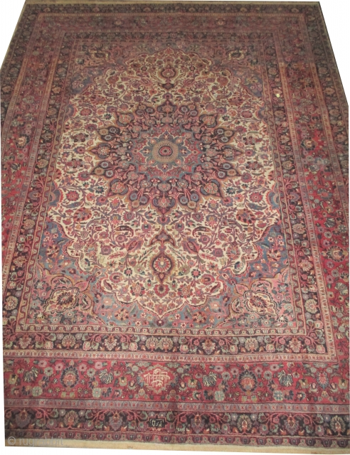 """Dorosch Persian dated 1365 = 1945 and signed the name of the weaver, 388 x 300 (cm) 12' 9"""" x 9' 10""""  carpet ID: P-4555 The knots are hand spun wool, the  ..."""
