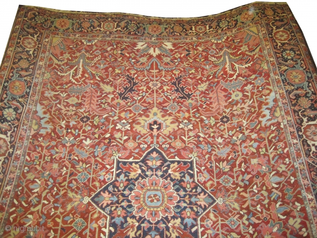 """Heriz Persian knotted circa in 1910 antique. Size: 368 x 266 (cm) 12' 1"""" x 8' 9""""  Carpet ID: P-1956 In good condition, fine knotted and in its original shape."""