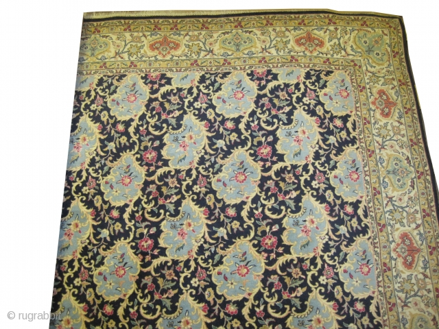 """Tabriz semi antique, 362 x 260 (cm) 11' 10"""" x 8' 6""""  carpet ID: P-6071 Very rare design, the background is indigo, all over design, the surrounded large border is ivory, the  ..."""