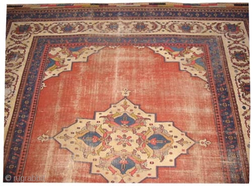 """Dorosch Persian antique, dated 1305 = 1887 and Signed twice with Islamic inscriptions, Size: 374 x 348 (cm) 12' 3"""" x 11' 5""""  carpet ID: P-5990 Both edges are finished with 4cm  ..."""