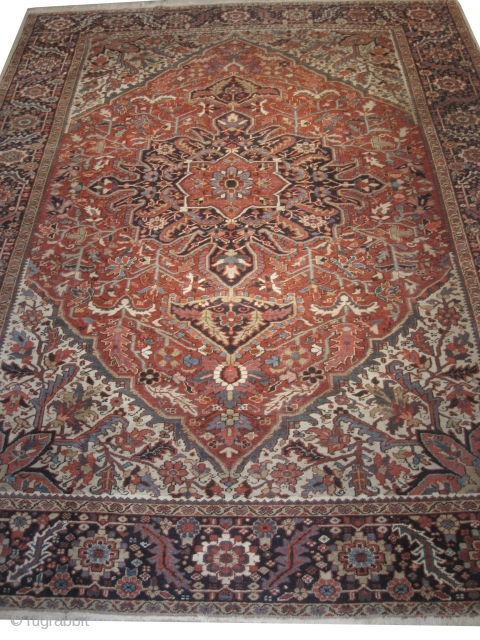 """Heriz Persian knotted circa in 1920 antique, 375 x 280 (cm) 12' 4"""" x 9' 2""""  carpet ID: MMM-3 The black cknots are oxidized, the knots are hand spun lamb wool, the  ..."""
