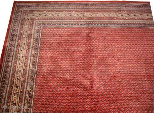 """Sarouk-Mir Persian knotted circa in 1940 semi antique,  450 x 365 (cm) 14' 9"""" x 12'   carpet ID: P-5866 Very thick pile in perfect condition, all over Mirabota design, the knots  ..."""