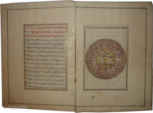 """Islamic astrological book, 17/18 century, antique, collector's item, museum standard, manuscript """"Astrology"""" book, most of the pages are colored and golden. Size: 30 x 21 (cm) 1'  x 8""""  carpet  ..."""