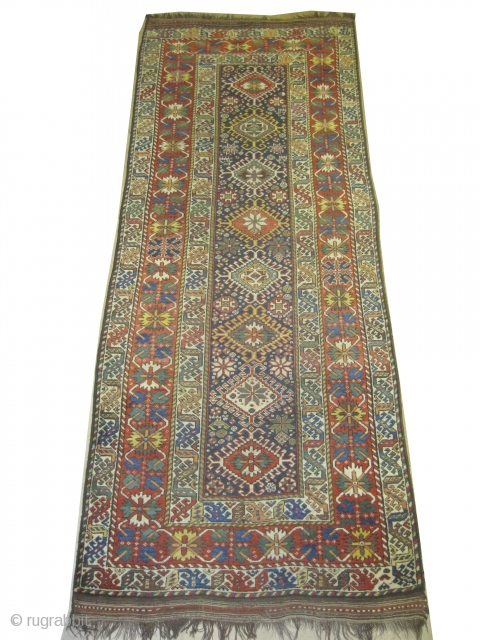 """Louri Kurd Persian dated 1333=1914 antique. Collector's item, Size: 314 x 127 (cm) 10' 4"""" x 4' 2""""  carpet ID: K-4631  vegetable dyes, the black color is oxidized, the knots are  ..."""