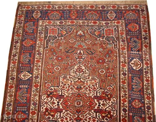"Shiraz Khamse circa 1910 antique, collector's item, Size: 264 x 170 (cm) 8' 8"" x 5' 7"" carpet ID: K-4302   vegetable dyes, the black color is oxidized, the knots are hand  ..."