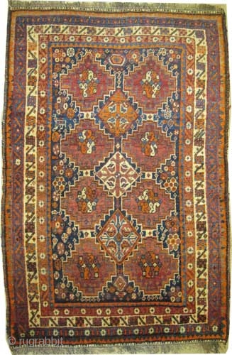 "Shiraz Persian circa 1920 antique. Collector's item. Size: 157 x 105 (cm) 5' 2"" x 3' 5"" 