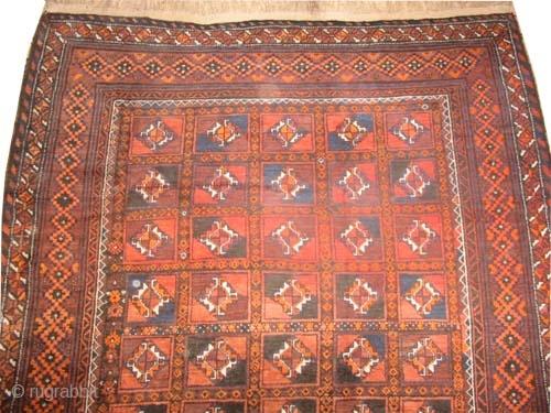 "Belutch, circa 1940, semi antique, Size: 304 x 192 (cm) 10'  x 6' 4""  carpet ID: P-4816  The black color is oxidized, the knots are hand spun wool, the shirazi  ..."