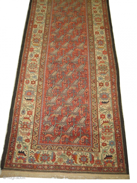 """Malaier Persian circa 1900. Size: 347 x 122 (cm) 11' 5"""" x 4'   carpet ID: HM-4  The knots are hand spun wool, the black color is oxidized, fine knotted, elegant carpet,  ..."""