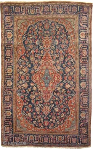 """Mohtashem Kashan Persian, circa 1905. Antique, collector's item, Size: 207 x 132 (cm) 6' 9"""" x 4' 4""""  carept ID: K-2598a  vegetable dyes, the black color is oxidized, the knots are  ..."""