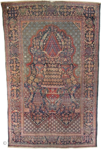 """Mohtashem Kashan Persian circa 1905, antique. Collector's item, Size: 220 x 140 (cm) 7' 3"""" x 4' 7""""  carpet ID: K-2993  vegetable dyes,the knots are hand spun lamb wool, the background  ..."""