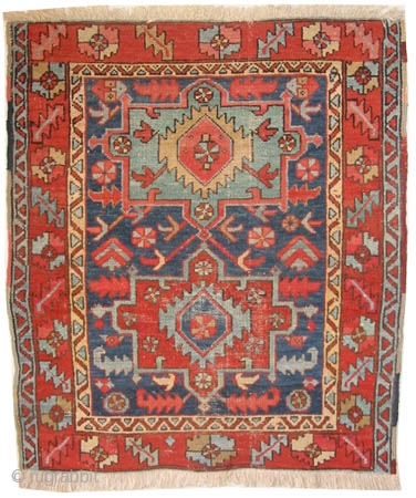"Bakshaish Heriz Persian circa 1890 antique. Collector's item, Size: 111 x 98 (cm) 3' 8"" x 3' 3""  carept ID: K-4141