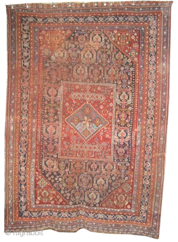 """Qashqai Persian circa 1910 antique. Collector's item, Size: 260 x 185 (cm) 8' 6"""" x 6' 1""""  carpet ID: K-4164  vegetable dyes, the warp and the weft threads are 100%  ..."""