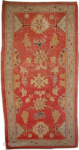 "Ushak Turtkish circa 1910 antique. Size: 170 x 90 (cm) 5' 7"" x 2' 11""   carpet ID: K-1364  The black color is oxidized, the knots are hand spun wool, the warp  ..."